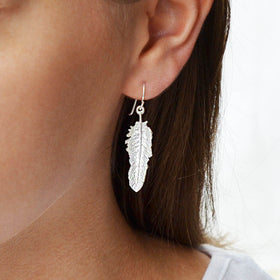 Sterling Silver Small Feather Drop Earrings