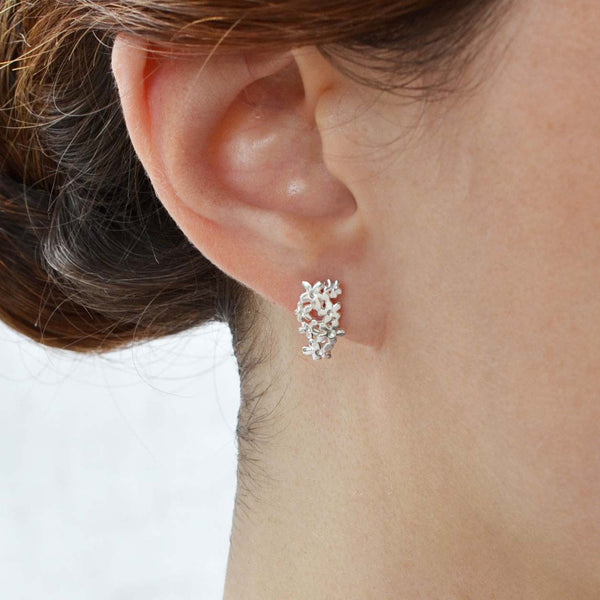 Sterling Silver Flower Band Earrings