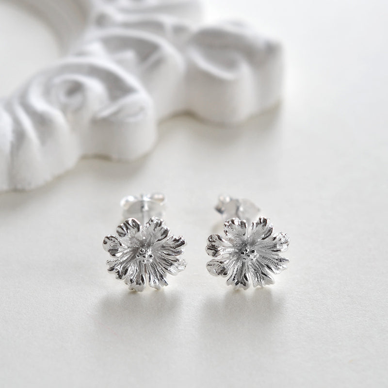 Sterling Silver Cosmos Flower Earrings
