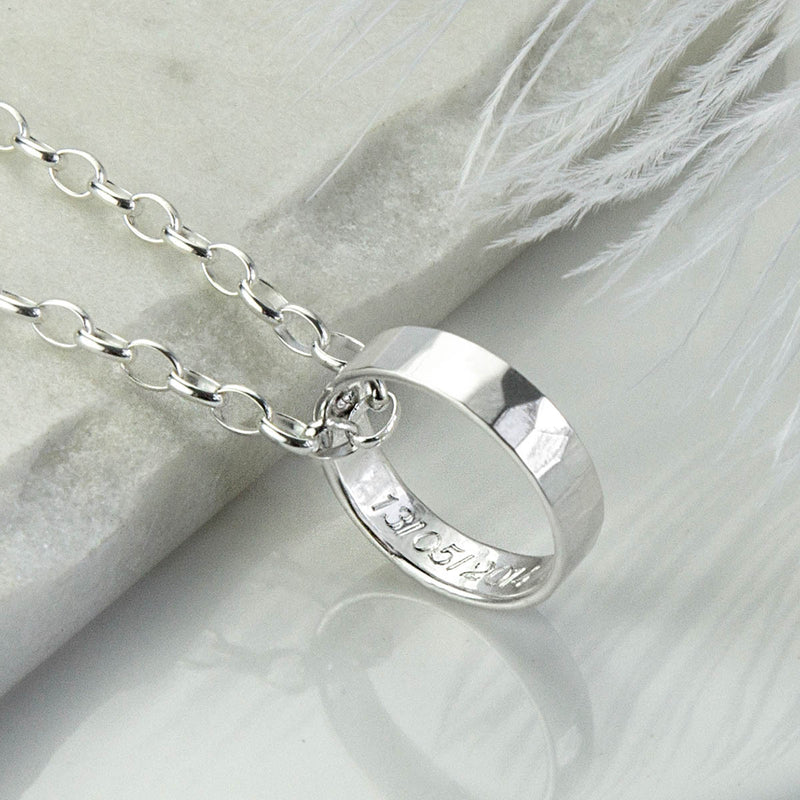 Hammered Finish Secret Message Ring Necklace