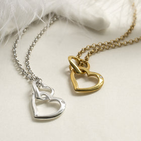 Sterling Silver and Diamond Hearts Necklace