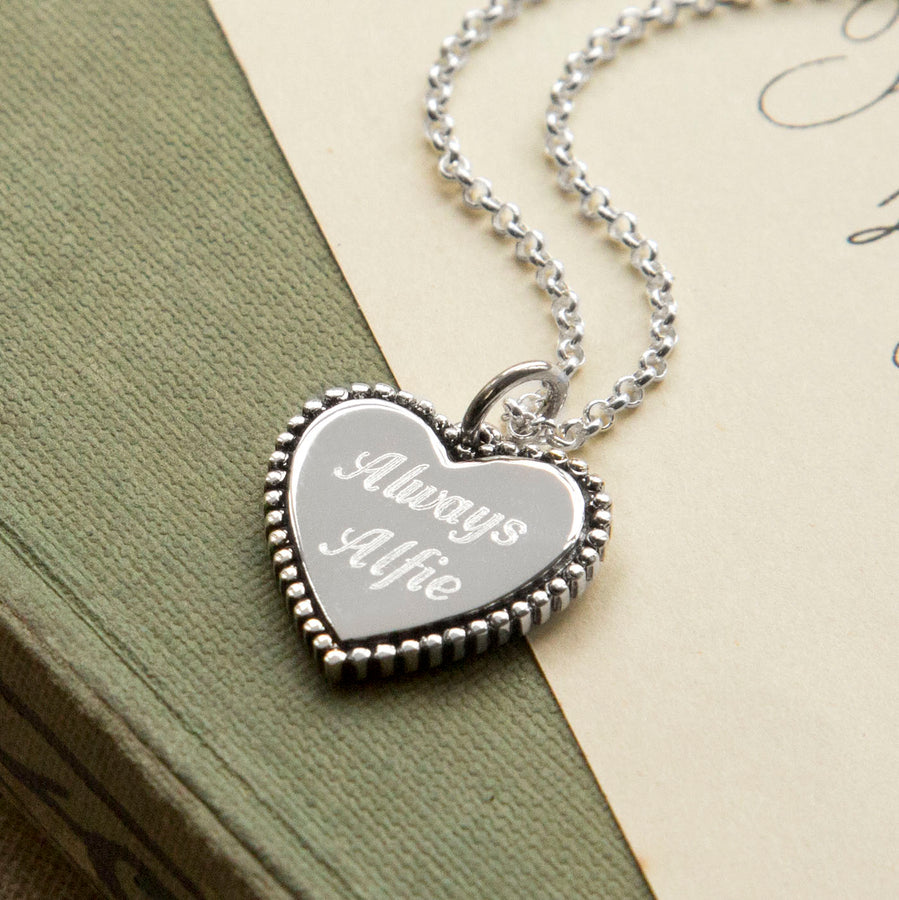 Personalized Sterling Silver Heart Pendant