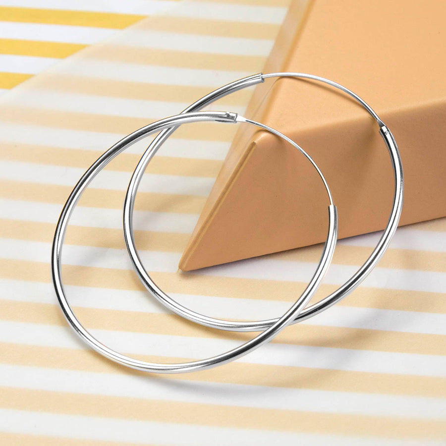 Sterling Silver 5cm Hoop Earrings