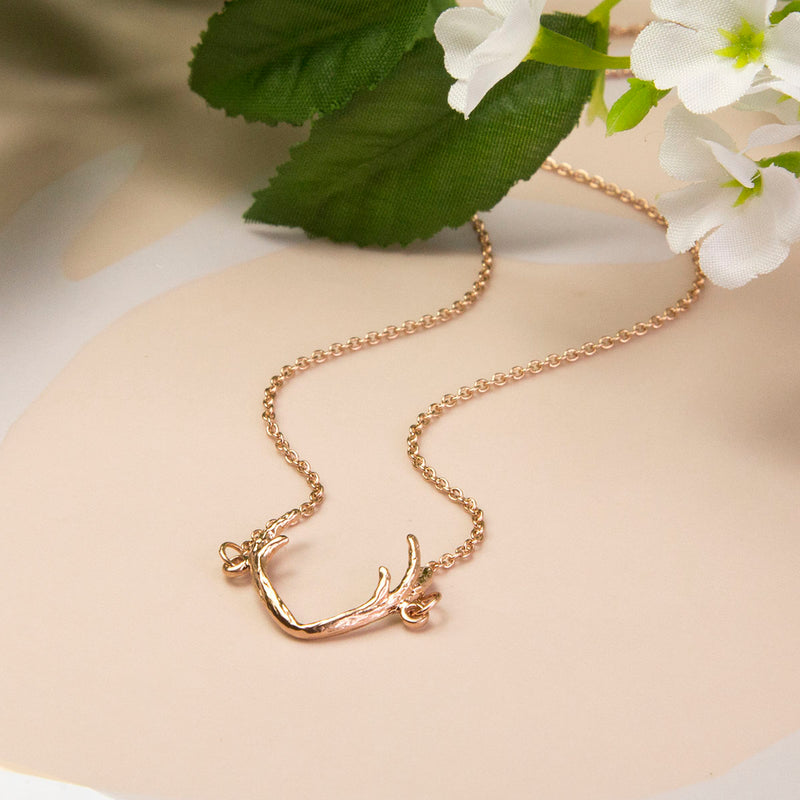 Rose Gold Plated Sterling Silver Antlers Necklace