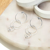 Sterling Silver Magic Rings Stud Earrings