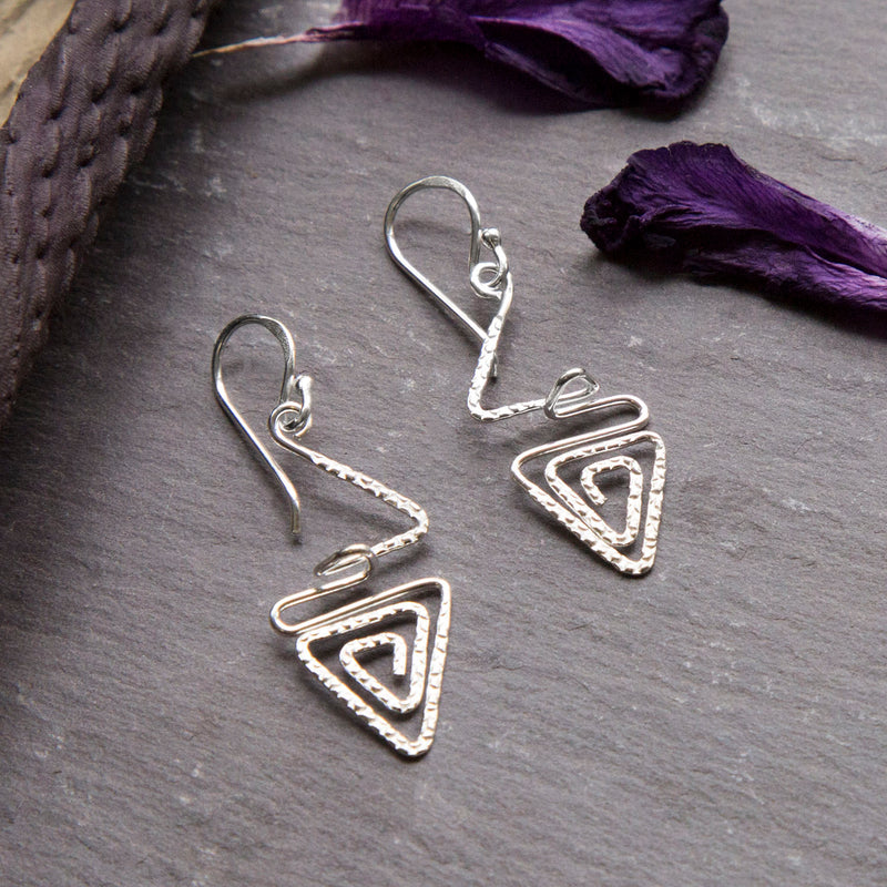 Sterling Silver Textured Triangle Swirl Earrings