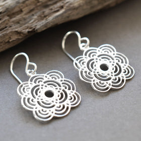 Silver Flower Ripple Earrings