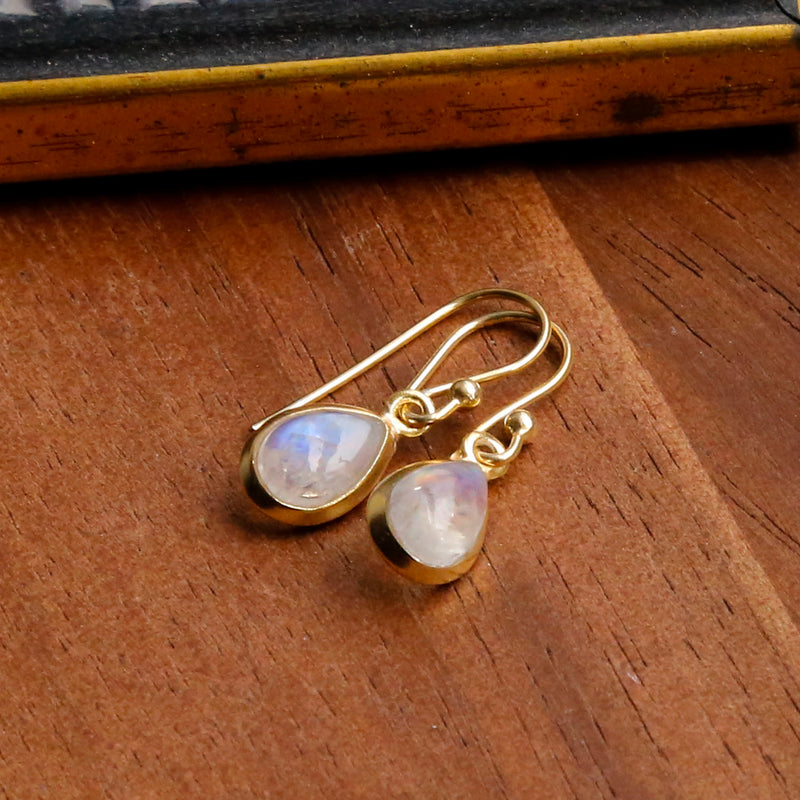 Gold Plated Moonstone Teardrop Earrings
