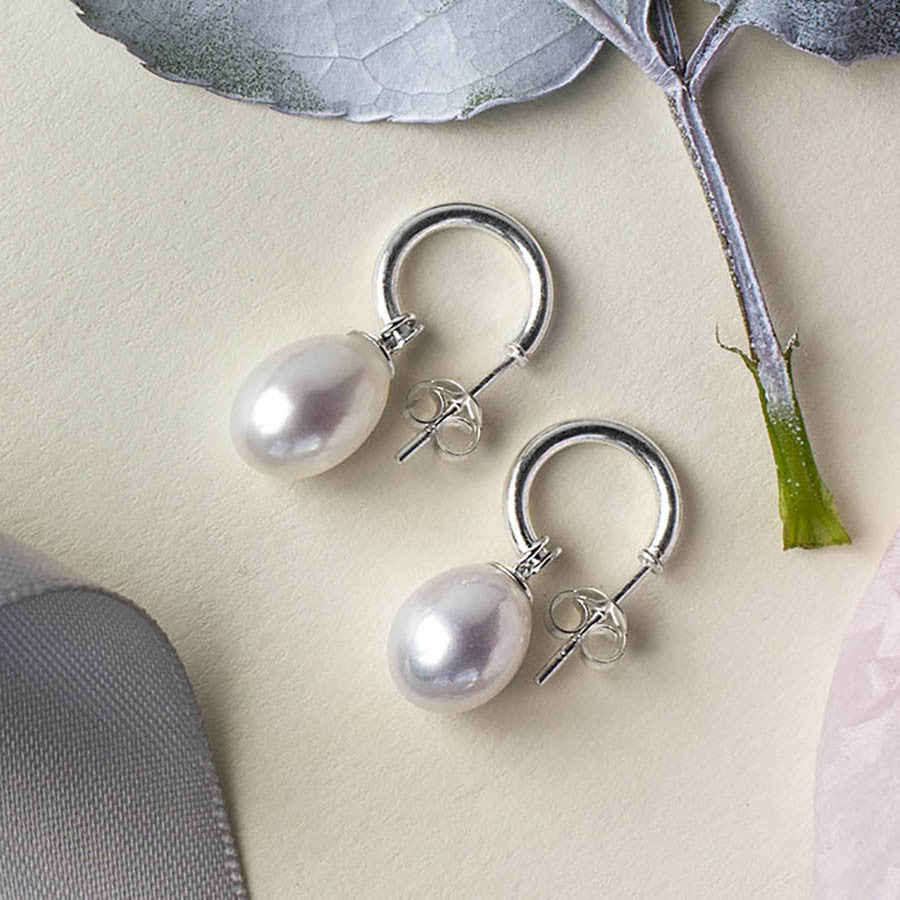 Silver Pearl Hoop Stud Earrings