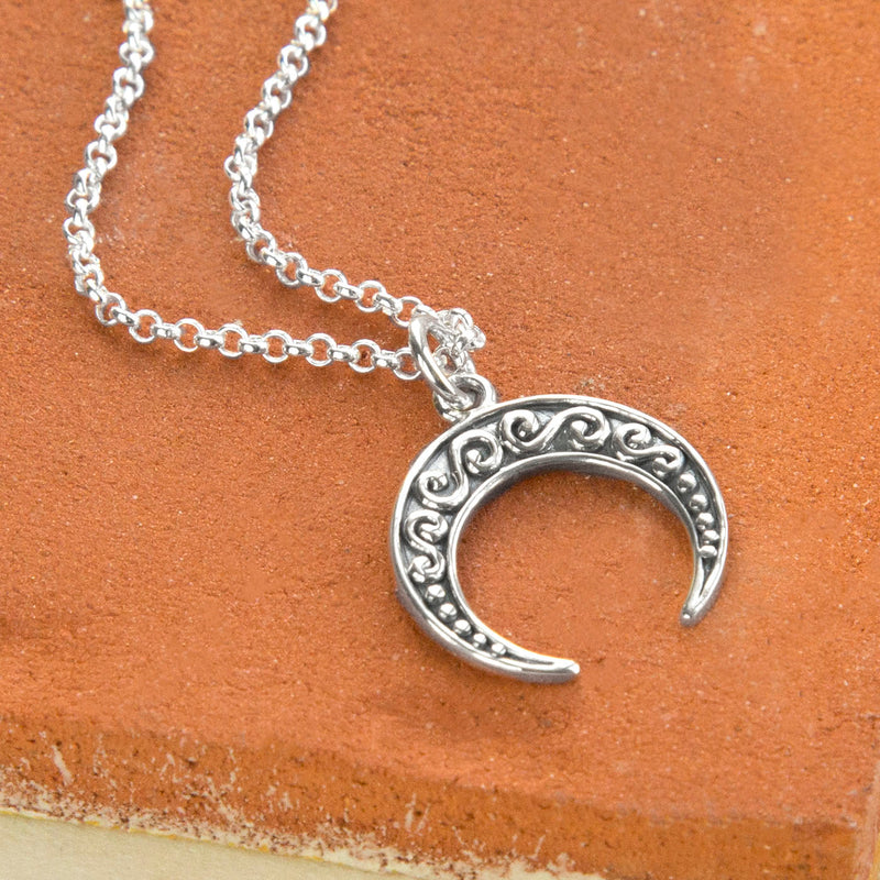 Sterling Silver Ankara Moon Necklace