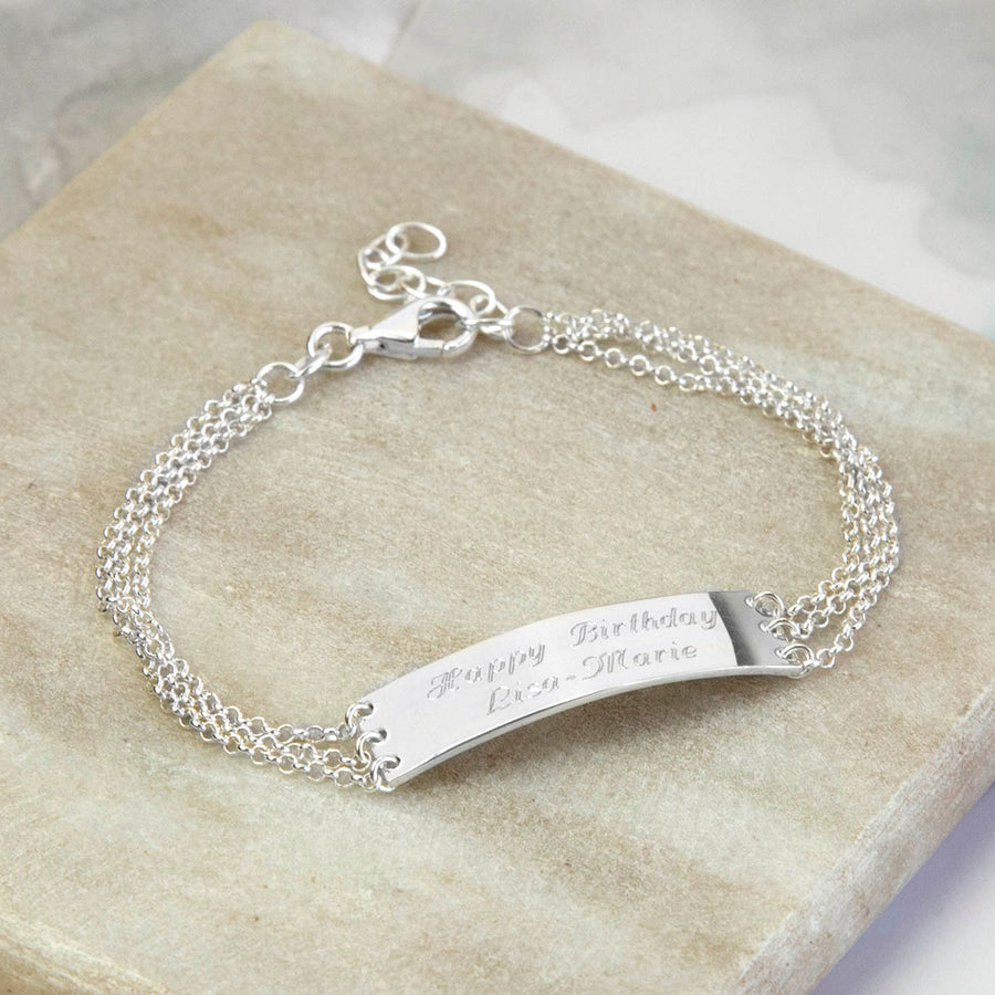 Sterling Silver Engravable Chain Bracelet