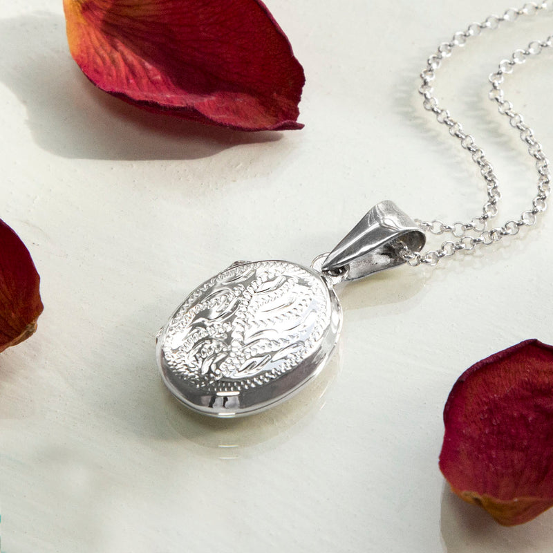 Engravable Sterling Silver Decorative Oval Locket Necklace