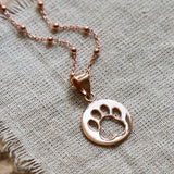 Rose Gold Plated Paw Print Necklace
