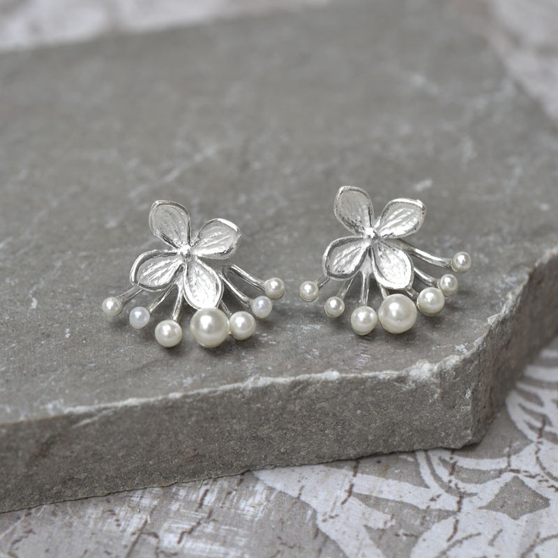 Sterling Silver and Pearl Flower 7 Pearl Two Way Stud Earrings