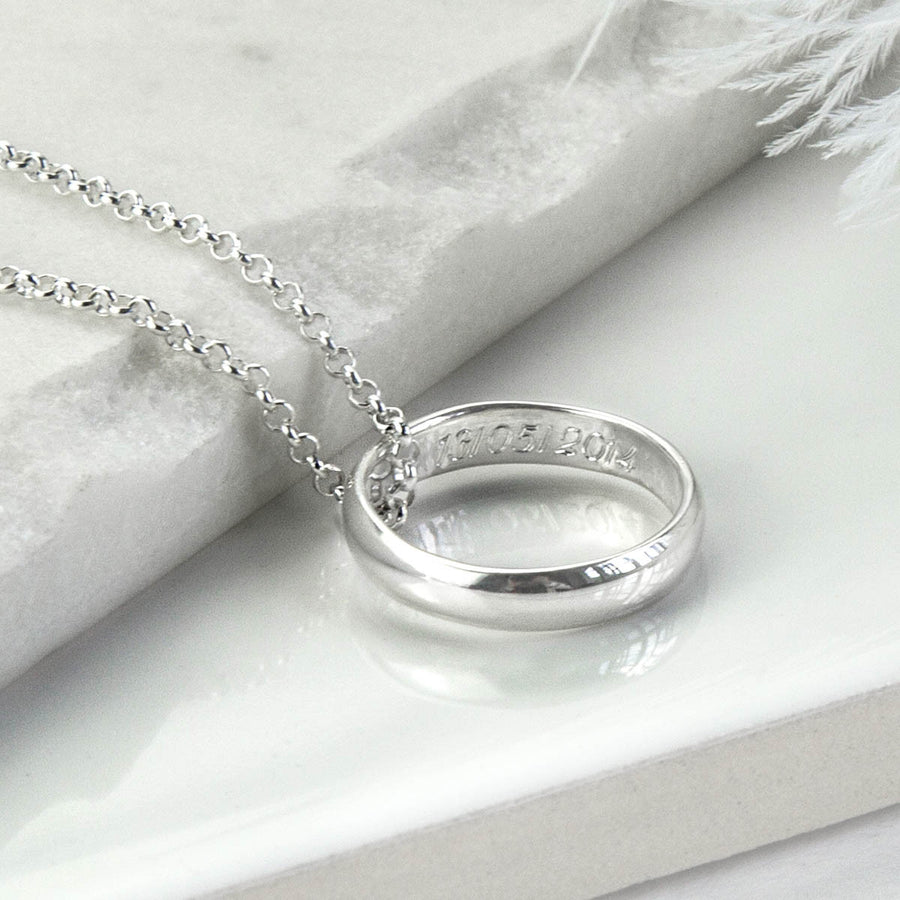 Sterling Silver Secret Message Ring Necklace