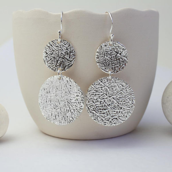 Sterling Silver Leaf Disc Earrings