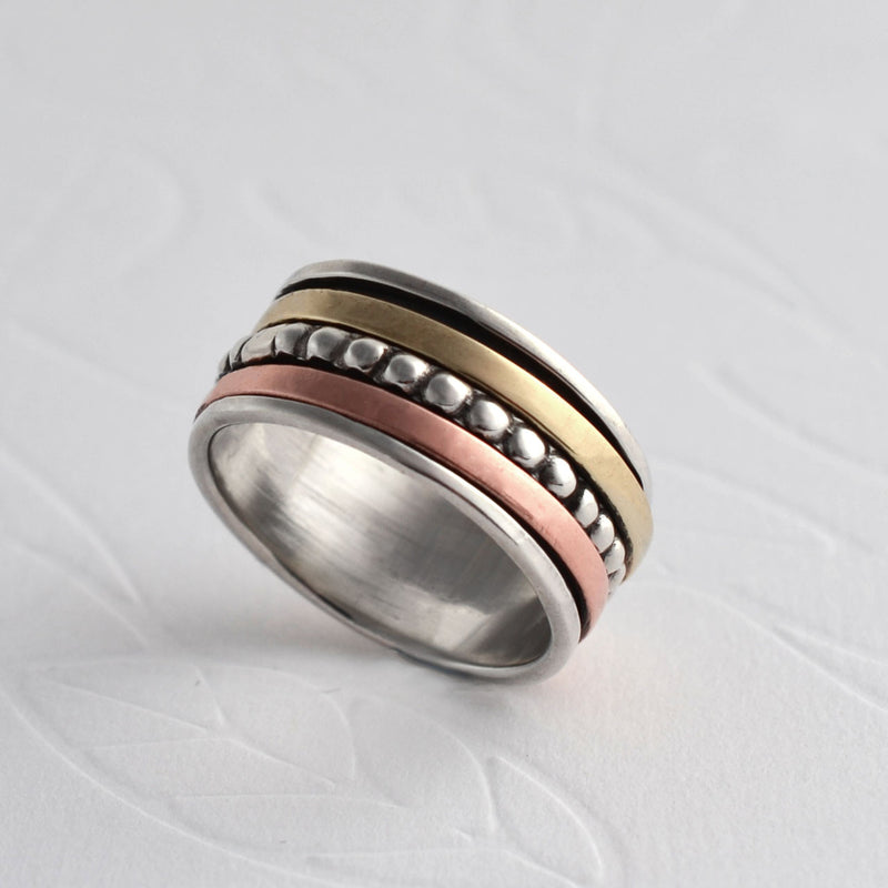 Mixed Metal Beads And Bands Ring