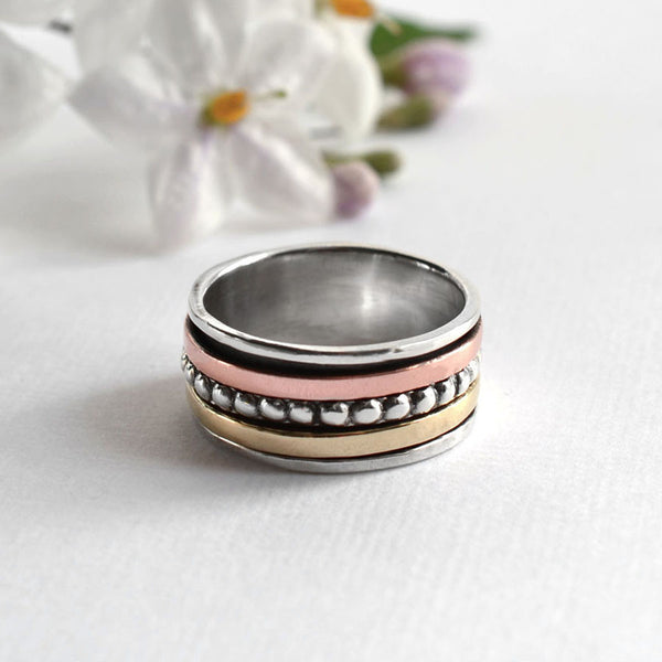 Silver Mixed Metal Beads And Bands Ring
