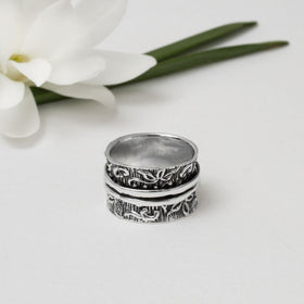 Sterling Silver Floral Spinning Ring