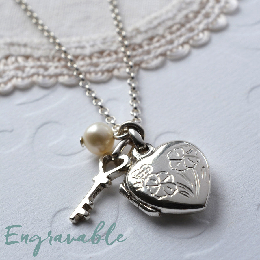 Silver Sweet Heart Locket Necklace
