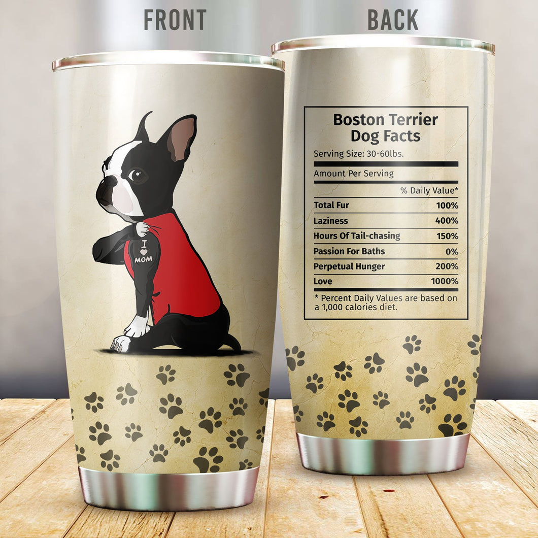 Boston Terrier I Love Mom Vr2 Stainless Steel Insulated Tumbler Cups
