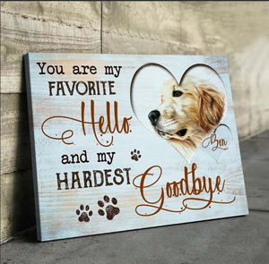 Personalized Canvas - Dogs and cats canvas custom- Animal Canvas - Anniversary, Birthday, Christmas gift - Custom with your photo, your names - My hardest Goobye