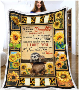 Blanket - Sloth - You Are My Sunshine - Love Mom