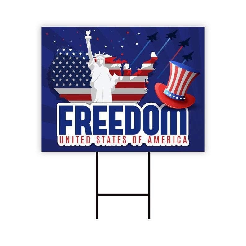 "Happy 4th of July Yard Sign 24"" x 18"" - Visible Text Happy Independence Day Party Decorations Sign with Metal H-Stake, H"