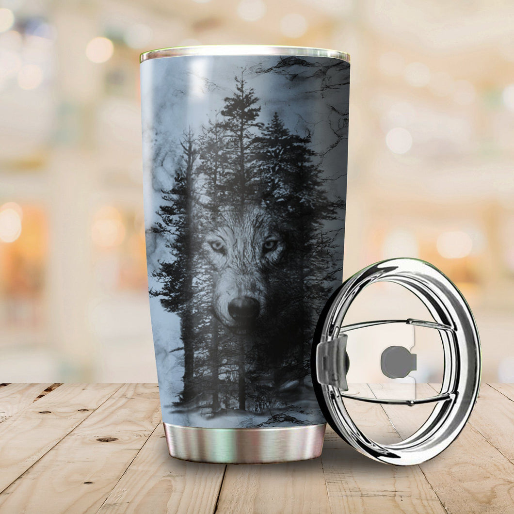 Cool Wolf Tumbler | Insulated Steel Tumbler | Stainless Steel Tumbler | Double Wall Insulated Tumbler