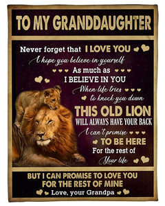 Blanket - Gift to granddaughter from lion grandpa - Birthday gift, Christmas gift - I hope you believe in yourself