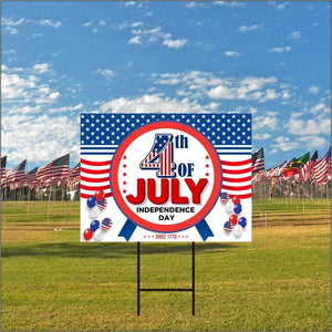 "Happy 4th of July Yard Sign 24"" x 18"" - Visible Text Happy Independence Day Party Decorations Sign with Metal H-Stake, G"