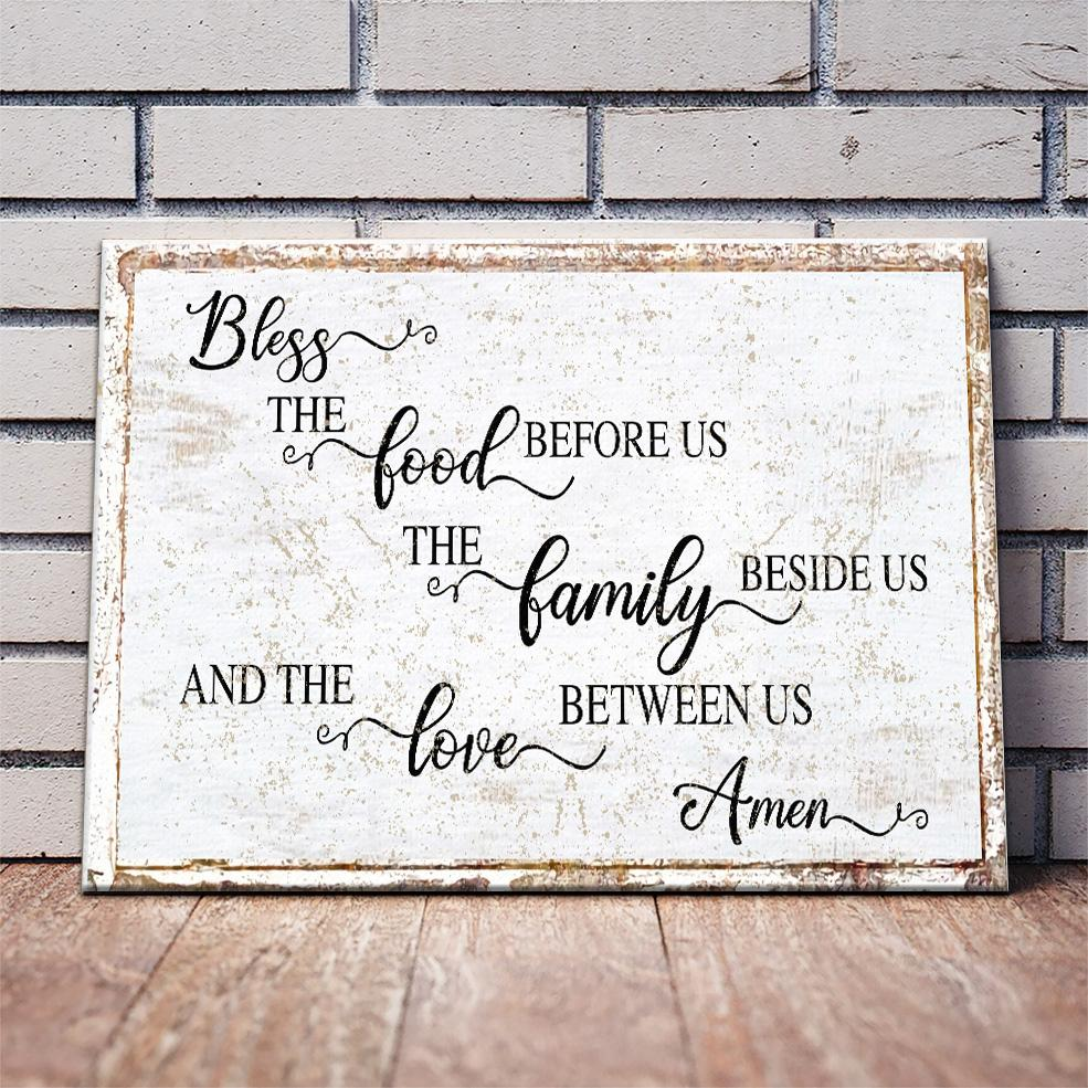 Modern Farmhouse Wall Decor Bless the Food Before Us Prayer Art Dining Room Sign, Primitive Rustic Wall Decor Large Canvas Kitchen Art Print