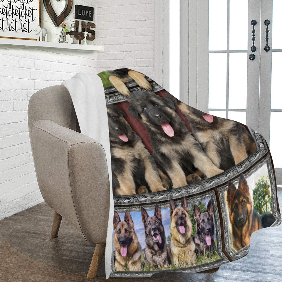 Dog Blanket 3D German Shepherd Puppy Funny Cute Dog Lover Gifts Fleece Blanket