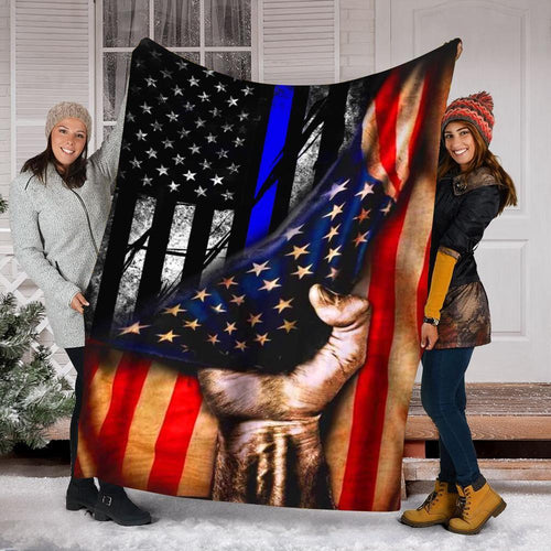 Custom Blanket Police Flag Blanket - Fleece Blanket
