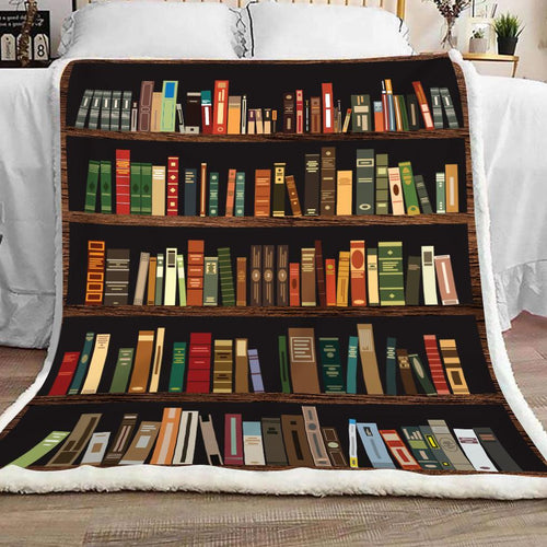 Book Lovers Blanket - Book Shelf Vintage Fleece Blanket