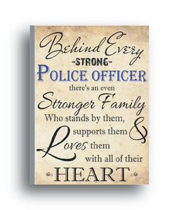 Family Support for Police Officer Canvas