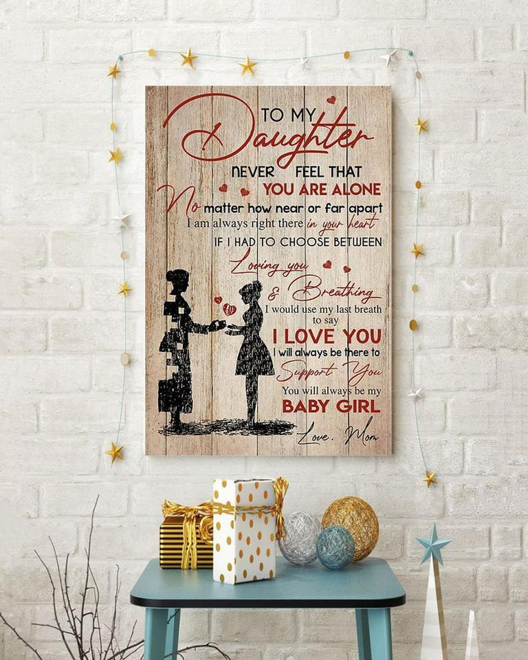 Daughter and mom canvas - gift for daughter - Birthday gift - Never Feel That You Are Alone