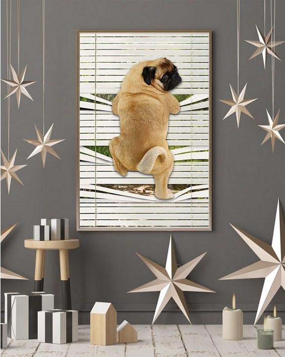 Pug Climbing Out Window Vertical Canvas