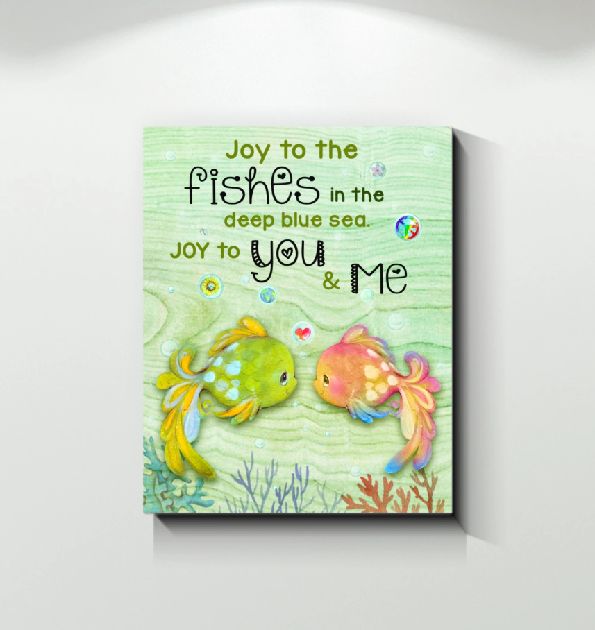 Canvas - Fishes - Joy To You&Me  Wall Art Canvas - Gift for Husband/Wife - Anniversary, Birthday, Valentine, Christmas gift -Custom your names