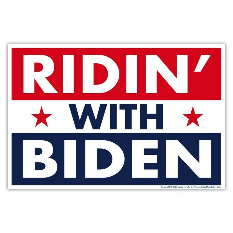 Political Campaign Yard Sign w/Stake, Ridin' With Biden, Joe Biden For President 2020