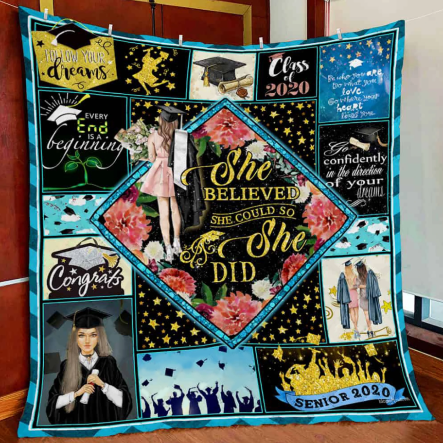 She Believed She Could So She Did Seniors 2020 Blanket - Gift For Daughter Granddaughter