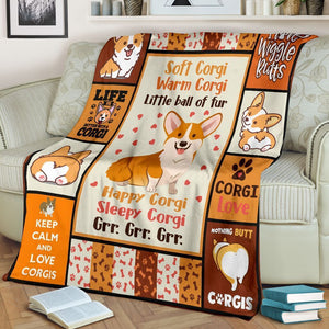 Dog Blanket Corgi Little Ball Of Fur Dog Lover Gifts Fleece Blanket