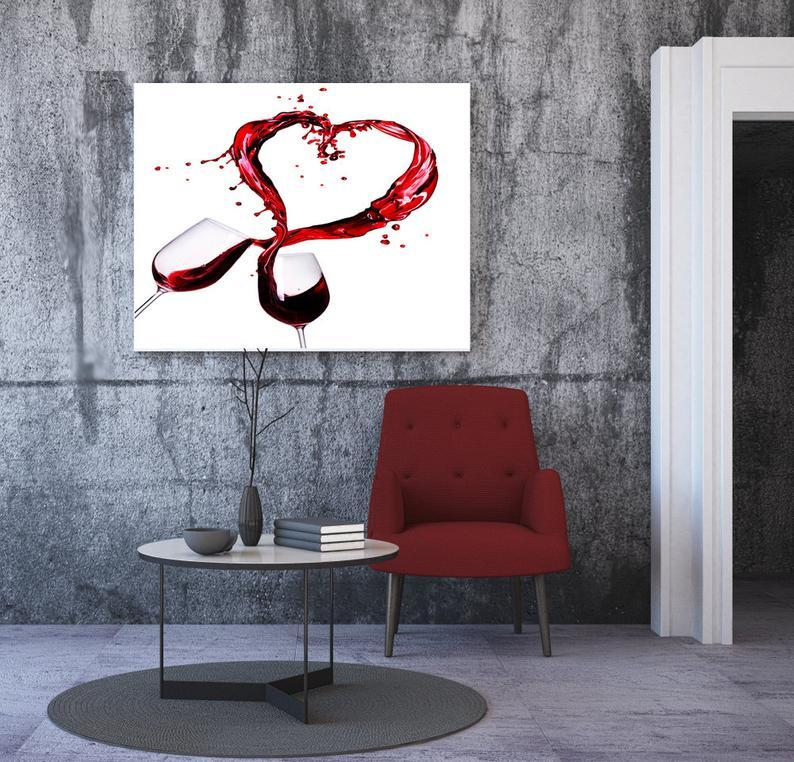 Red Wine Heart love Modern girls Kitchen Framed Canvas Print Wall Art - National Red Wine Day in US