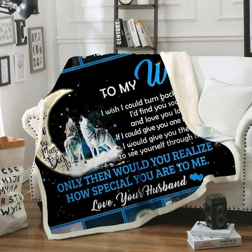 Blanket - Wolf - Gift for my wife - Birthday gift, Christmas, Anniversary gift - I love you to the moon and back