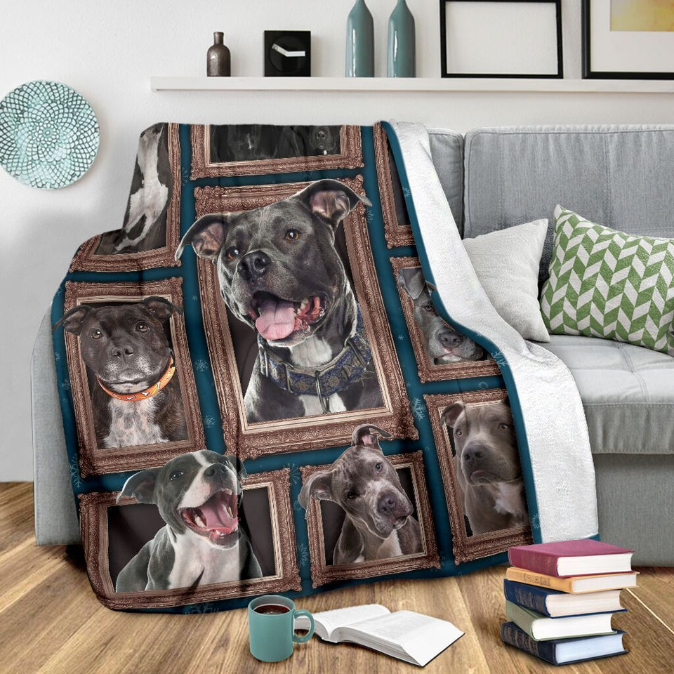 Dog Blanket 3D Pitbull Funny Pit Bull Dog Lover Gifts Fleece Blanket