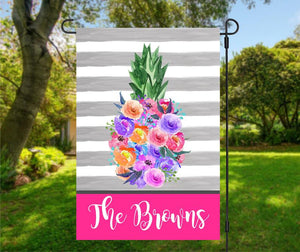 Personalized Pineapple Welcome Garden Flag, Family Garden Flag, Summer Yard Flag, Custom Porch Decor, Entry Flag, Yard Decor