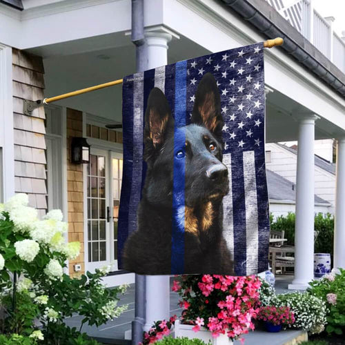 German Shepherd Police Dog. K9. The Thin Blue Line Fla - Double Sided Flag