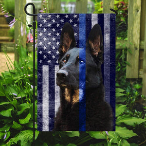 German Shepherd Police Dog. K9. The Thin Blue Line Flag - Garden Flag