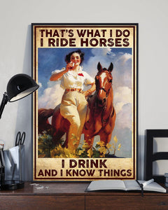 PREMIUM HORSE GIRL I RIDE I DRINK CANVAS WALL ART