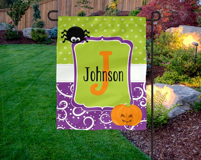 Personalized Garden Flag, Halloween Garden Flag. Pumpkin garden flag, Halloween custom yard flag, Halloween Decor, custom gift, garden flag  -  Garden Flag House Flag